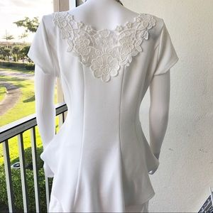 White Peplum Blouse with Lace Back Inset